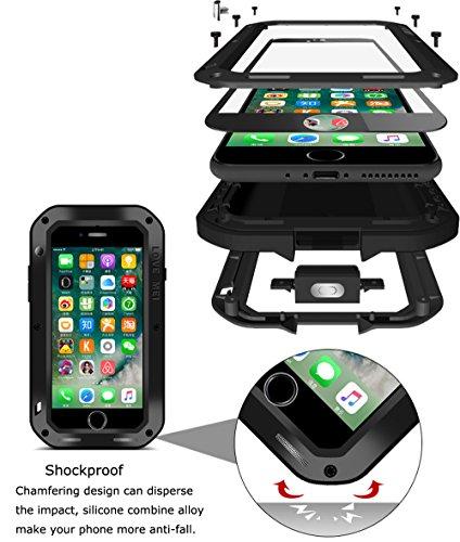 Love Mei Case für iPhone 7 (11,9 cm), Love Mei [gerade Stil] aluminum-silicone Hybrid Metall spritz Wasserdicht Stoßfest rot