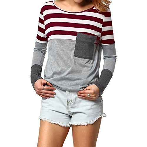 Fancathy Damen Streifen Langarmshirt Top Patchwork Rundhals Baumwoll T-shirt Pullover mit Tasche Frühling Herbst, Burgund, Gr. S