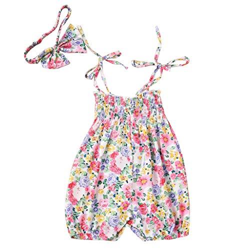 JUTOO Baby Mädchen 2tlg Set Neugeborenen Blumendruck Strampler Jumpsuit + Headhand Outfits Set (Rosa,80)