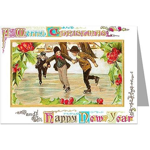 Vino lettura Illustrated pattinaggio-partito godono il Natale Vacanze vittoriano biglietti di box-set