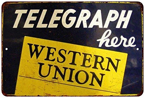 western-union-telegraph-vintage-look-reproduction-8x12-metal-sign-8121217-by-great-american-memories