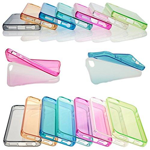 iP5 iPhone 5 / iPhone 5S SILIKON Schale Hülle Tasche Handyhülle Schutz Cover Case + PANZER GLAS FOLIE (Türkis) Schwarz