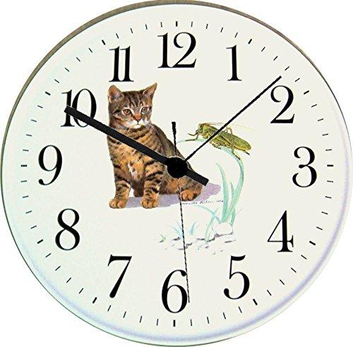 EVIT Artline Katzen Uhr 070308 Keramik Wanduhr Kätzchen mit Grashüpfer Grünrand handgemalt Quarzuhr
