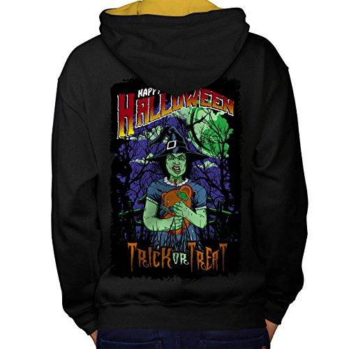 Halloween Hexe Horror Men M Kontrast Kapuzenpullover Zurück | (Hexe Schlechte Kostüme Halloween)