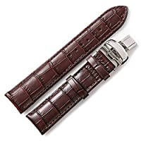 DISMAY Alligator Embossed Leather Watch Bands Strap for Tissot Watches (20MM, Brown)