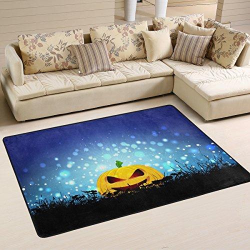 DEYYA Moderne Halloween-Kürbis mit Ray Hintergrund Vektor Bild Flokati Teppiche für Wohnzimmer und Schlafzimmer, griffige Bereich Teppich für Kinder Schlafzimmer-Dekor, 36 x 24 Zoll Multi