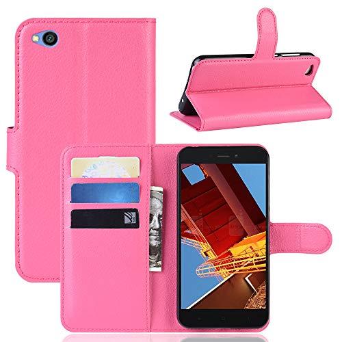 MISKQ Funda para Xiaomi Redmi Go,Funda con diseño de Cartera,Estuche para el teléfono Anti caída,Estuche de Silicona(Rosa roja)