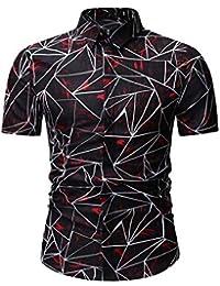 aa9bc07a0d02c GreatFun Camisa Casual Hombres Nuevo patrón Casual Moda impresión Solapa  Camuflaje Manga Corta Camisa poliéster Creativo