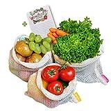 Fresh Republic Obst- und Gemüsebeutel 100% GOTS fair Biobaumwolle 3er Set wiederverwendbar plastikfrei Netz Tasche mit Einkaufszettel