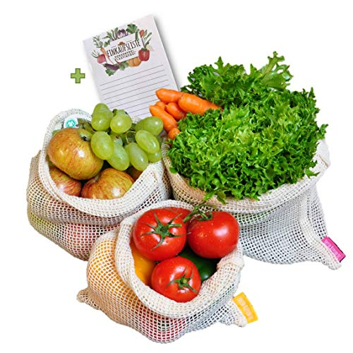 Fresh Republic Obst- und Gemüsebeutel 100% GOTS Biobaumwolle 3er Set Wiederverwendbar plastikfrei Netz Tasche mit Einkaufszettel