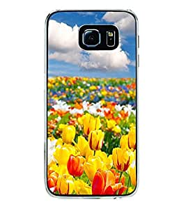 PrintVisa Yellow Floral High Gloss Designer Back Case Cover for Samsung Galaxy S6 Edge :: Samsung Galaxy S6 Edge G925 :: Samsung Galaxy S6 Edge G925I G9250 G925A G925F G925FQ G925K G925L G925S G925T