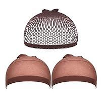 Luckhome 3 Pc Wig Network, Wig Caps Elastic Stocking Wig Liner Cap Nylon Stretch Mesh Nylon Caps Mesh (BW)