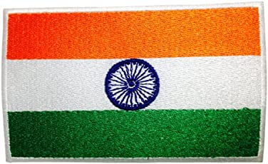 Quipco Embroidered Patch National Flag of India, 2.5x4-inch (Multicolour)