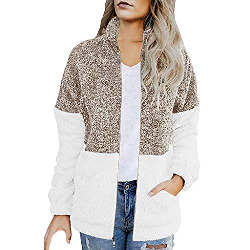 LIMITA Damen Fleecejacke Herbst Winter Lässige Nähte Kontrast Reißverschluss Mantel mit Tasche Plüschjacke Fleece-Strickjacke Stehkragen warme Jacke