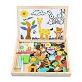 Magnetic Board Puzzle Games 100 Pieces Wooden Kids Toy, Satu Brown Double Face Jigsaw& Drawing Easel Chalkboard Popular Educational Learning Toys