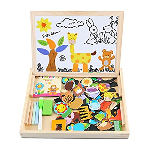 Magnetic Board Puzzle Games 100 Pieces Wooden Kids Toy, Satu Brown Double Face Jigsaw& Drawing Easel Chalkboard Popular Educational Learning