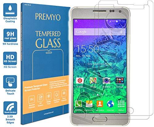PREMYO 2 Stück Panzerglas für Galaxy Alpha Schutzglas Bildschirm-Schutzfolie für Galaxy Alpha Blasenfrei HD-Klar 9H 2,5D Echt-Glas Folie kompatibel für Alpha Gegen Kratzer Fingerabdrücke