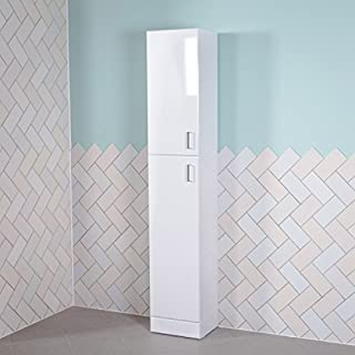Aquariss Designer Absolute White Gloss 1900 mm Tall Bathroom Furniture Storage Tallboy Cabinet Cupboard Unit