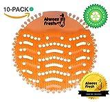 Protector para orinal, Alfombrillas para urinario, Desodorizador de orinal, (10 unidades), Neutralizador de olores y salpicaduras (Fragancia Mango). Se adapta a todo tipo de Urinales