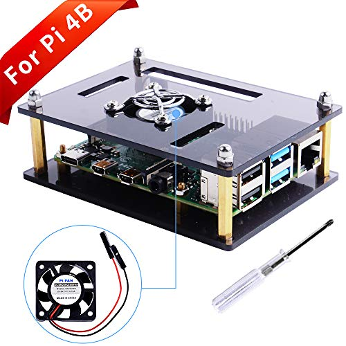 GeeekPi Caja Acrylic para Raspberry Pi 4b & Raspberry Pi 3 b +, Raspberry Pi case with cooling fan for Raspberry Pi 3/2 Model B / B + (Brown)