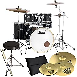 Pearl Export EXX725Z/C31 Black and Sabian SBR Cymbals Set with Drum Stool. Plus KEEPDRUM Drumsticks