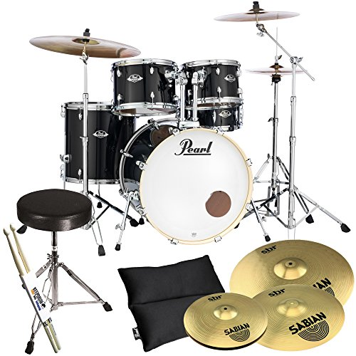 pearl-export-exx725z-c31-black-and-sabian-sbr-cymbals-set-with-drum-stool-plus-keepdrum-drumsticks