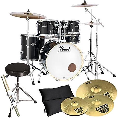 Pearl esportazione EXX725Z, nero e C31 Sabian SBR piatti con Bacchette per tamburo Stool. Plus KEEPDRUM - Vision Drum Set