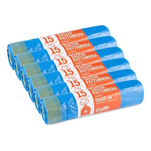 Gallo sacchi per pattumiera, maniglie autochiudenti, azzurro, medium