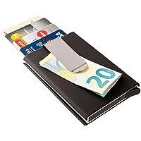 ECENCE Kreditkarten Schutzhülle Geldklammer Geldbörse Alu RFID NFC Schutz kompakt Schwarz 81040304