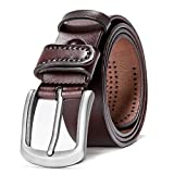 HZHY Men Belts for Jeans,100% Full Grain Leather with Anti-Scratch Pin Buckle,Great for Jeans & Casual Wear & Cowboy Wear & Work Clothes (125cm (39''- 44''), Type 82483)