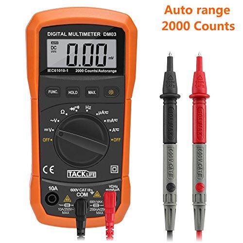 Tacklife DM03 Digital Multimeter, AC Spannungsprüfer Tragbare Prüfvorrichtung Messung von Spannung Strom Widerstand Messinstrument mit Hintergrundbeleuchtung
