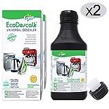 EcoDescalk Universal Biologico Concentrato 2 x 9 Decalcificazioni. Decalcificante 100% Naturale. Detergente per Bollitori, Lavatrici, Lavastoviglie. Prodotto CE.