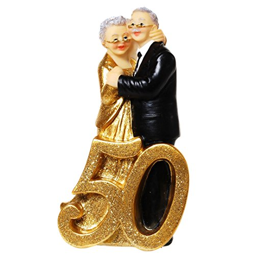Gold Wedding Pair with number 50, polystone, approx. 14,5 x 8 cm