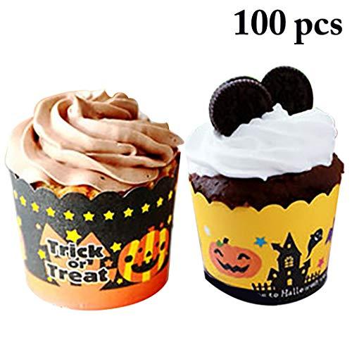 JUSTDOLIFE 100PCS Cupcake Wrapper Dekorpapier Cupcake Cup Cupcake Liner für Halloween