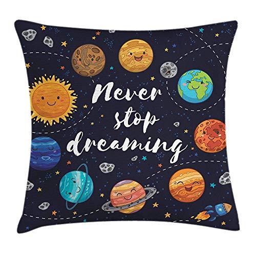 tyui7 Funda de cojín Decorativa Almohada Planetas del Espacio Exterior y Sistema Solar de cúmulos estelares Luna y Cometas Ilustración del Cosmos Solar Pillowcase 45x45 cm Multi