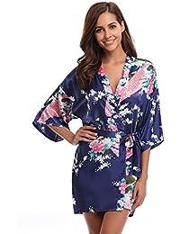 Aibrou Damen Morgenmantel Kimono Satin Kurz Nachtwäsche Bademantel Robe Schlafanzug Mit Peacock und Blumen