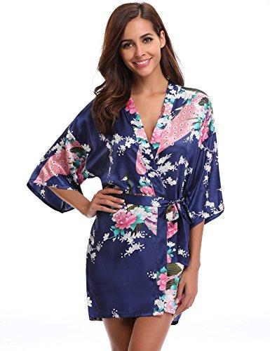 Aibrou Damen Morgenmantel Kimono Robe Bademantel Schlafanzug Nachtwäsche Kurz aus Satin mit Peacock und Blüten Blau L (Kimono)