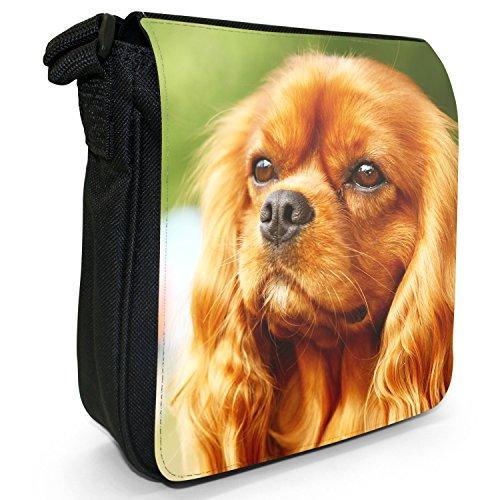 Cavalier King Charles Spaniel Cane Piccolo Nero Tela Borsa a tracolla, taglia S Beautiful Brown Cavalier Dog
