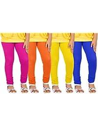 Goodtry Girls Leggings Pack of 4 Darkpink, Yellow, Royalblue, Orange