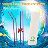 VEHHE Metal Straw Stainless Steel Straws Drinking Reusable Straws 4 Set -10.5 Ultra Long Rainbow Color-Cleaning Brush for 20/30 Oz for Yeti RTIC SIC Ozark Trail Tumblers (2 Straight|2 Bent|1 Brush)