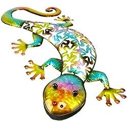 Christmas Concepts® Art Mural de Reptiles en métal coloré - Décoration de Jardin intérieur/extérieur (53cm Gecko Bleu)