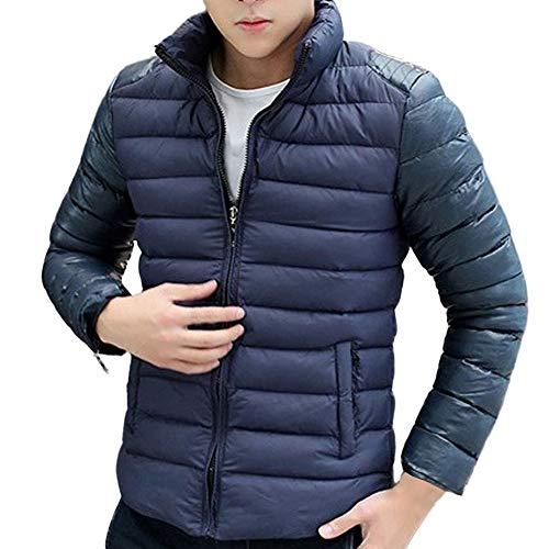 Hommes De Loisirs avec Poche Vestes Doudoune Zipper Slim Fit Manteau Hiver Casual Sweatshirt Sport Pullover Blouse Blouson Pardessus Bleu XXL
