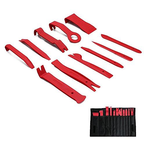 Preisvergleich Produktbild Xianan 11 Teile / satz Auto Kunststoff Trim Removal Tool Audio Türverkleidung Offene Form Set Kit Tasche Hebeln Werkzeug Auto Interior Handwerkzeuge (Rot)