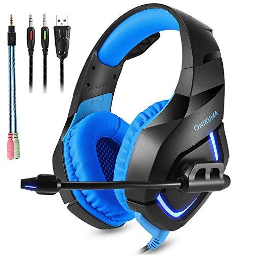 Auriculares Gaming, ONIKUMA K1 Cascos de Juegos con Micrófono Cancelación De Ruido Gaming Headset para PS4 Xbox One S PC Mobile Phones(Azul)