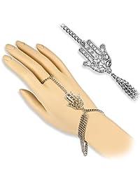 Bungsa® Handkette silber mit Hamsa Charm indisch Indien Henna (Armband Fingerring Fingerkette Handschmuck Slave- Kette Slave Chain Bracelet)