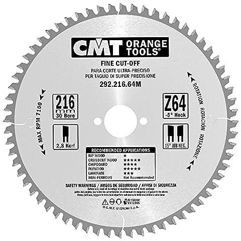 Cmt Orange Tools 292.216.64M–Scie circulaire 216x 2,8x 30Z 64ATB -5°C