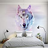 Wuyyii Murales 3D Personalizzati, Cartoon Wolf, Ristorante Dell'Hotel Coffee Shop Living Room Divano Tv Wall Bambini   Wallpaper-250X175CM
