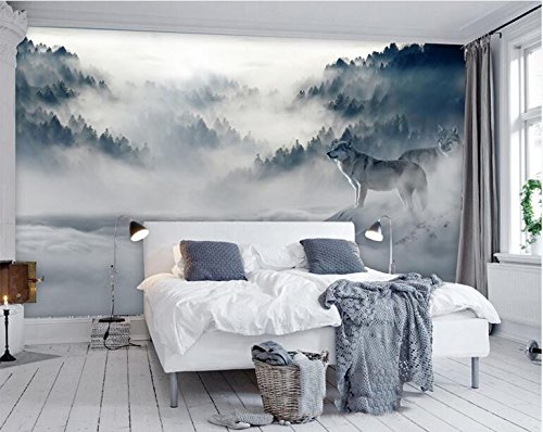 WH-PORP Mountain Fog Forest Wolf Animal 3D Mural tapete For Bedroom Sofa Background-200cmX140cm