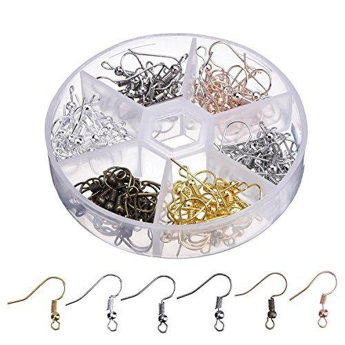 Ohrhaken Ohr Haken Angelhaken mit Aufbewahrungskoffer, 6 Farben, 120 Stück