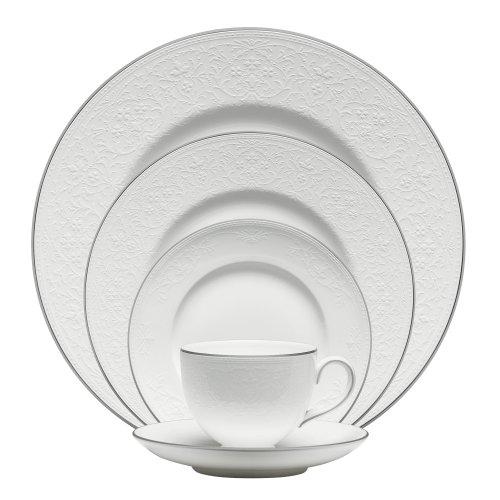 Wedgwood English Lace Tischset, 5-teilig Englische Spitze, Gedeck, 5 Teile None White, Platinum Wedgwood White Dinner Plate